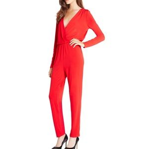 New $98 BCBGeneration V Neck Jumpsuit Red XS